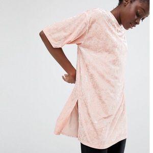 Monki Tops - Monki crashed velvet oversized long T-shirt
